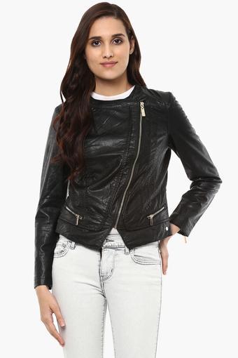 Womens Solid Bikers Jacket