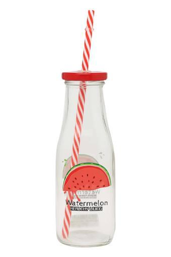 Round Printed Bottle with Straw