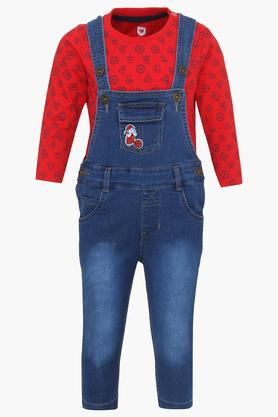 Boys Round Neck Mild Wash Dungarees and Printed Tee