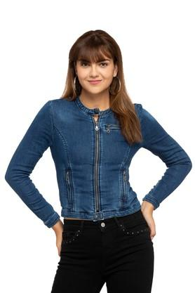 DEAL JEANS Womens Band Neck Washed Jacket