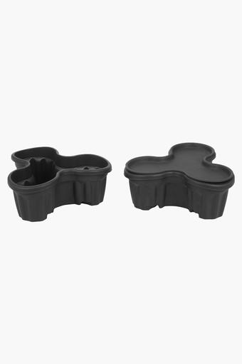 Tri Potted Planter with Tray Set of 2 - 20 x 19 x 10 cms