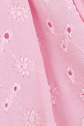 Girls Round Neck Embroidered Eyelet Flared Dress