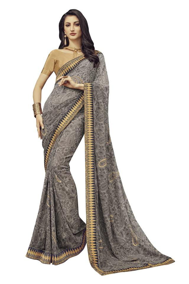 Womens Printed Saree with Blouse Piece