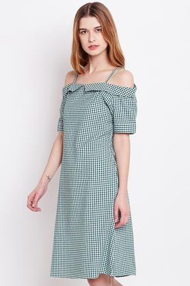Womens Off Shoulder Checked A-Line Dress
