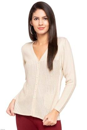 APSLEY Womens V-Neck Knitted Pattern Cardigan