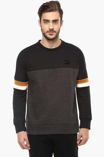 Mens Round Neck Colour Block Sweatshirt