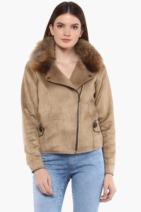 IRISWomens Zip Through Neck Solid Jacket