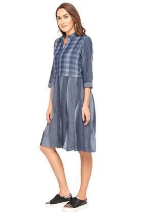 Womens Collared Checked Shirt Dress