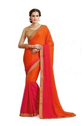 ASHIKA Womens Embroidered Saree With Blouse Piece