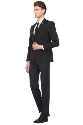 Mens Notched Lapel Self Printed Suit with Shirt