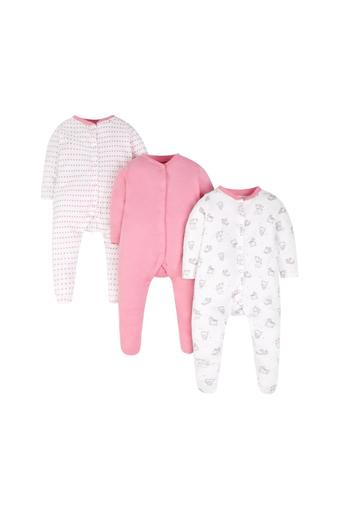 d28fdc7eb Buy MOTHERCARE Girls Round Neck Solid and Printed Sleepsuits ...