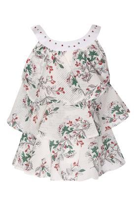 Girls Round Neck Floral Print Top