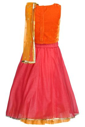 Girls Round Neck Embroidered Lehenga Set