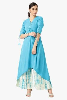 LIBAS Womens Designer Neck Solid Asymmetrical Kurta With Palazzo