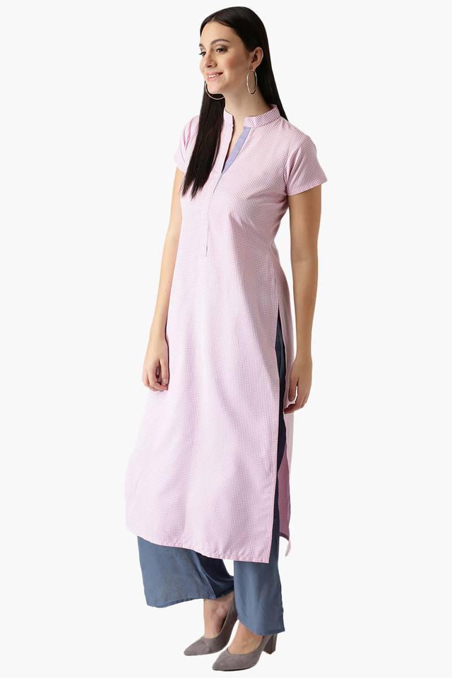 Womens Cotton Check Straight Kurta