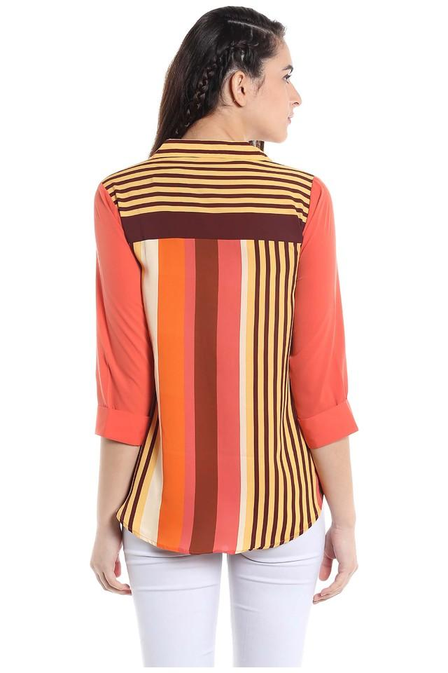 Womens Collared Striped Top