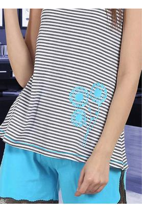 Womens Round Neck Stripe Top and Shorts Set