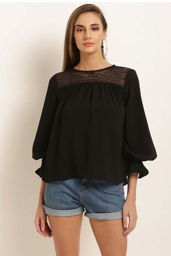 Womens Round Neck Solid Lace Top