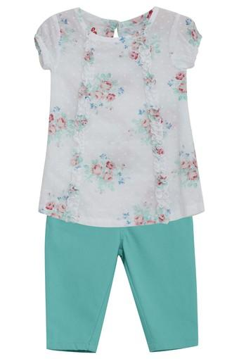 Girls Round Neck Printed Top and Solid Pants