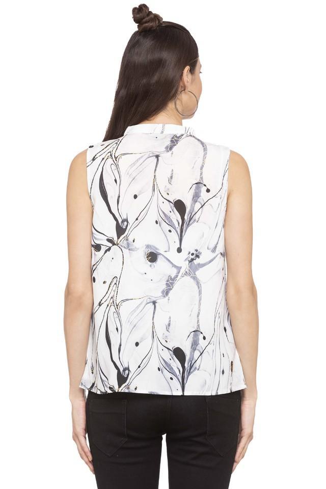 Womens Mandarin Neck Printed Top