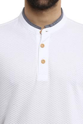 Mens Mandarin Collar Self Printed T-Shirt