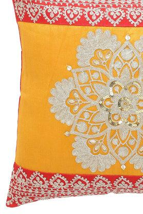 Square Resham Embroidered Cushion Cover