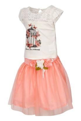 Girls Round Neck Assorted Top and Skirt Set