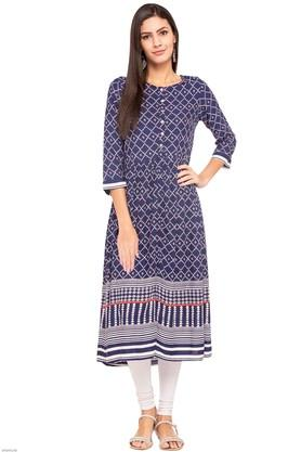 GLOBAL DESI Womens Round Neck Printed Kurta
