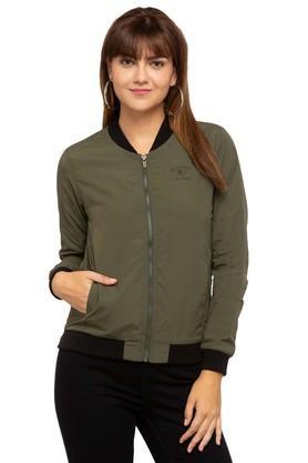 PEPEWomens Zip Through Neck Solid Jacket