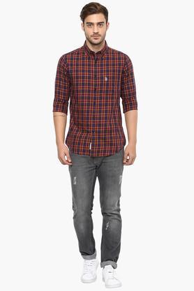 Mens Buttondown Collar Check Shirt