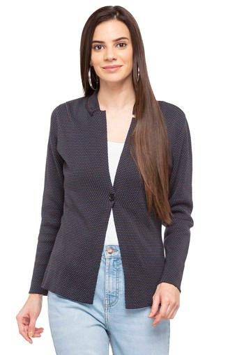 Womens Collared Printed Jacket