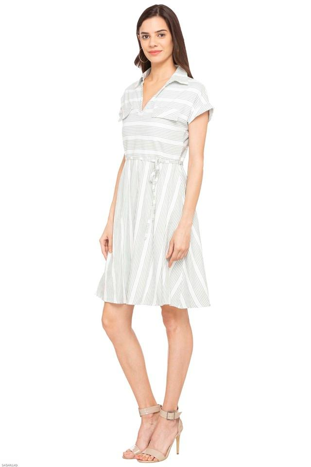 Womens Collared Stripe Skater Dress