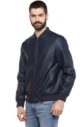 Mens Mandarin Collar Solid Jacket
