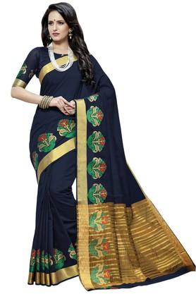 ASHIKA Plain Cotton Silk Saree With Blouse Piece - 204034543_8394