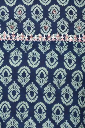 Womens Band Collar Printed Pant and Kurta Set