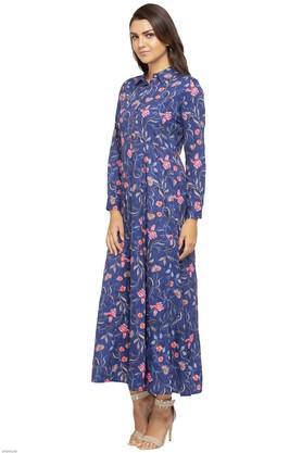 Womens Collared Printed Maxi Dress
