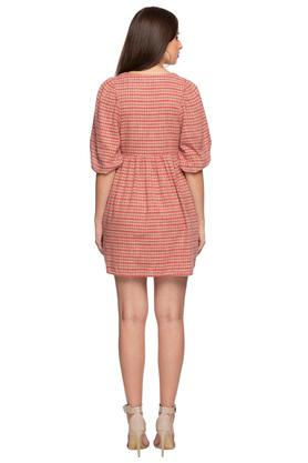 Womens V Neck Checked Short Dress