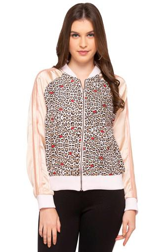 Womens Mao Collar Printed Bomber Jacket