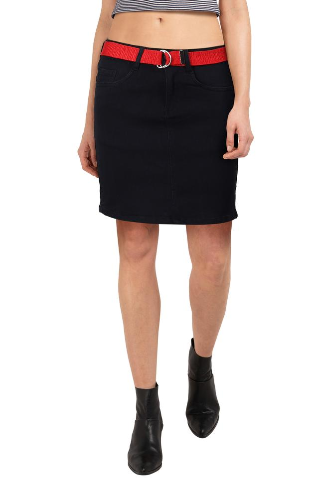Womens 5 Pocket Solid Skirt