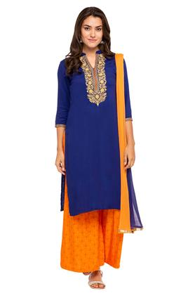 KASHISH Womens Mandarin Neck Embroidered Kurta And Palazzo Set