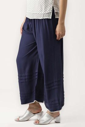 Womens Solid Casual Palazzos With Pom Pom Lace