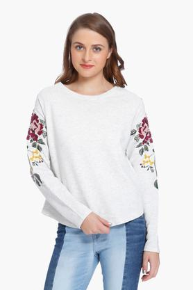 ONLY Womens Round Neck Slub Sweatshirt