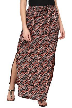 PURYSWomens Stripe Slitted Long Skirt