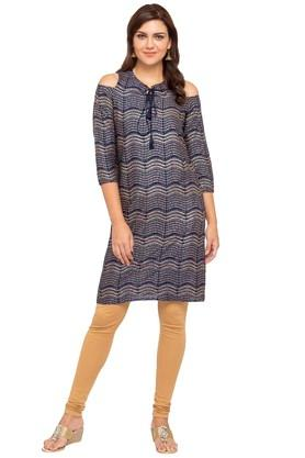 GLOBAL DESI Womens Tie Up Neck Printed Kurta