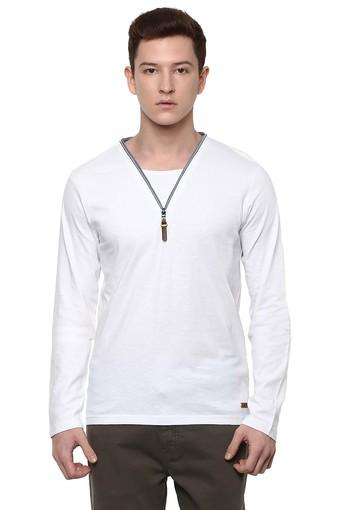 Mens Zip Through Neck Slub T-Shirt