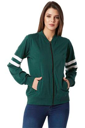 MISS CHASEWomens Zip Through Neck Solid Jacket - 204815393_8225