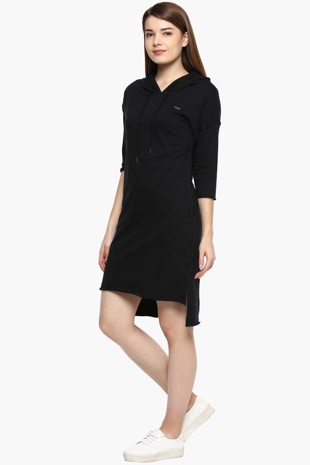 Womens Hooded Neck Solid Sweater Dress