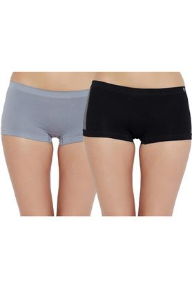 Womens Solid Boy Shorts Pack of 2