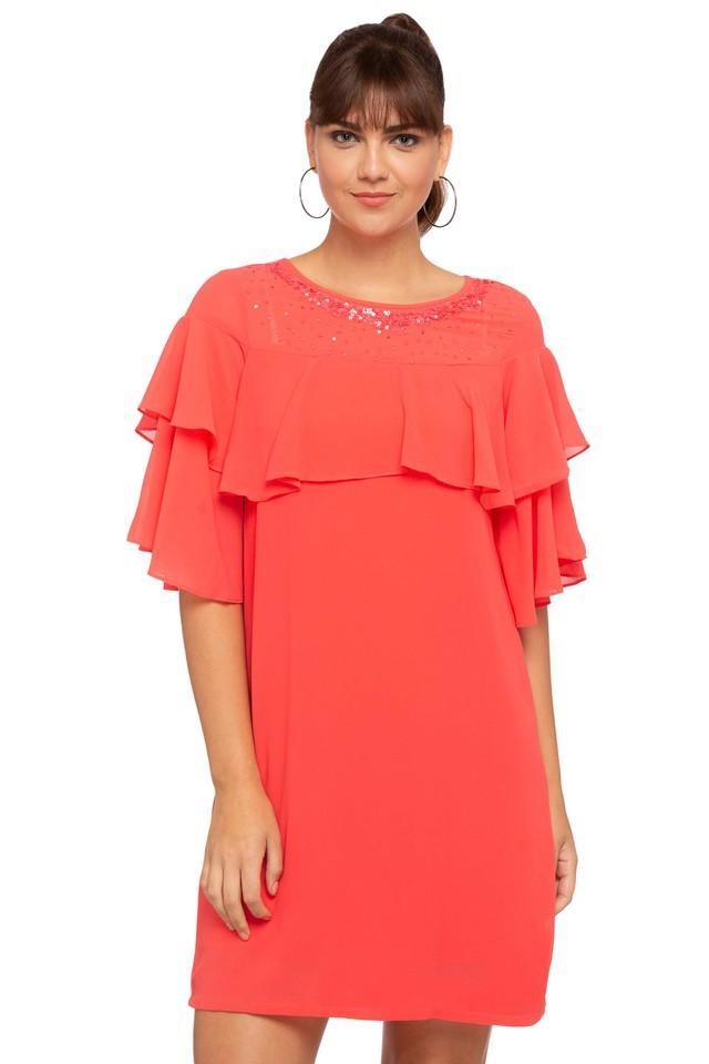 Womens Round Neck Embellished Short Dress