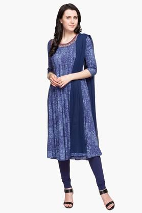 IMARA Womens Round Neck Assorted A-line Kurta, Churidar And Dupatta Set
